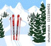 mountain view and skis in the... | Shutterstock .eps vector #1212384052