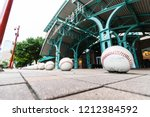 Small photo of HOUSTON, TX, USA - SEPTEMBER 10, 2018: Oversized baseball's sit outside of Minute Maid Stadium, home to the MLB's Houston Astro's. These baseball's sit at most of the entrances to this sports stadium.