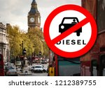 diesel car prohibition sign and ... | Shutterstock . vector #1212389755