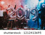 smiling people with baloons... | Shutterstock . vector #1212413695