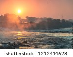 sunrise over river sava in... | Shutterstock . vector #1212414628