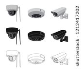 isolated object of cctv and... | Shutterstock .eps vector #1212417202