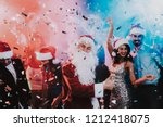 man in santa claus costume on... | Shutterstock . vector #1212418075