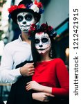 santa muerte. couple man and... | Shutterstock . vector #1212421915