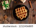 fresh belgian tasty waffles and ...   Shutterstock . vector #1212436885