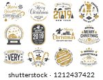 set of merry christmas and 2019 ... | Shutterstock .eps vector #1212437422