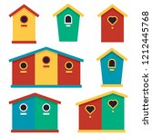 birdhouses. set of color icons... | Shutterstock .eps vector #1212445768