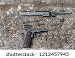 colt 45  1911 disassembled  ...   Shutterstock . vector #1212457945