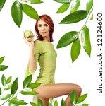 cute girl with fresh green apple | Shutterstock . vector #12124600