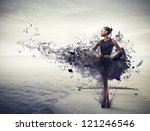 black girl  with a black dress... | Shutterstock . vector #121246546