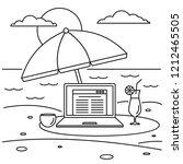 freelancer notebook beach... | Shutterstock . vector #1212465505