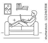 man freelancer sofa concept... | Shutterstock . vector #1212465508
