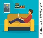 man freelancer at sofa concept... | Shutterstock . vector #1212465532