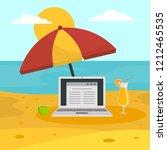 freelancer notebook at beach... | Shutterstock . vector #1212465535