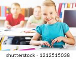 friendly school children with... | Shutterstock . vector #1212515038