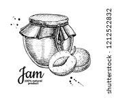 plum jam glass jar drawing.... | Shutterstock . vector #1212522832
