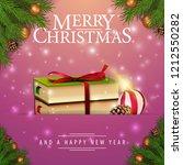 pink christmas card with fir... | Shutterstock .eps vector #1212550282