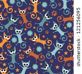 seamless pattern with funny cats   Shutterstock .eps vector #121256095