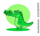 crocodile standing up cartoon ...   Shutterstock .eps vector #1212562495