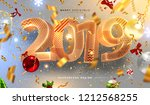 2019 happy new year trendy... | Shutterstock .eps vector #1212568255