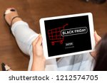 tablet screen displaying a... | Shutterstock . vector #1212574705
