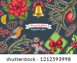 christmas greeting card. hand... | Shutterstock .eps vector #1212593998