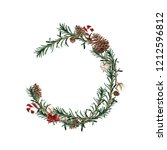 wreath with pine branches and... | Shutterstock . vector #1212596812