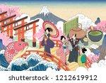 Retro Japan Scenery In Ukiyo E...