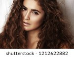 beautiful young woman with long ... | Shutterstock . vector #1212622882