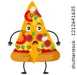 cute pizza slice isolated on... | Shutterstock .eps vector #1212641635