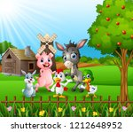 farm background with happy... | Shutterstock . vector #1212648952