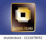 gold badge with microchip ...   Shutterstock .eps vector #1212678052
