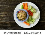Stock photo spicy fish chilli dip with vegetable nam prik pla sod 1212691045