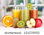 Fresh Fruit Juices On Wooden...