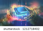 futuristic cpu. quantum... | Shutterstock . vector #1212718402