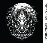 wolves night black and white...   Shutterstock .eps vector #1212722602