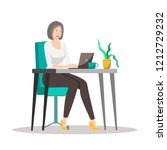 business woman with a laptop ... | Shutterstock .eps vector #1212729232