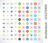 100 arrow sign icon set. volume ...
