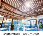 beach cafe and restaurant with... | Shutterstock . vector #1212740935