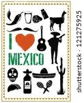 Set Of Mexico Icons In Stencil...