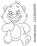 outlined happy teddy bear... | Shutterstock .eps vector #1212810355