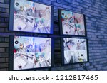 modern monitors with video... | Shutterstock . vector #1212817465