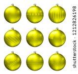 yellow christmas balls isolated ... | Shutterstock .eps vector #1212826198