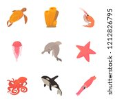 peaceful water animal icons set.... | Shutterstock .eps vector #1212826795