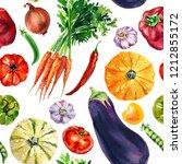 vegetable set of watercolor... | Shutterstock . vector #1212855172