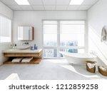 3d rendering spacious bathroom... | Shutterstock . vector #1212859258