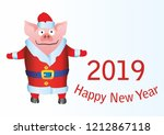 happy new year 2019 funny card... | Shutterstock .eps vector #1212867118