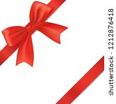 realistic red bow with ribbon ... | Shutterstock .eps vector #1212876418