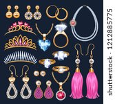 realistic jewelry accessories... | Shutterstock .eps vector #1212885775