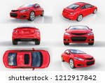 red small sports car coupe. 3d... | Shutterstock . vector #1212917842